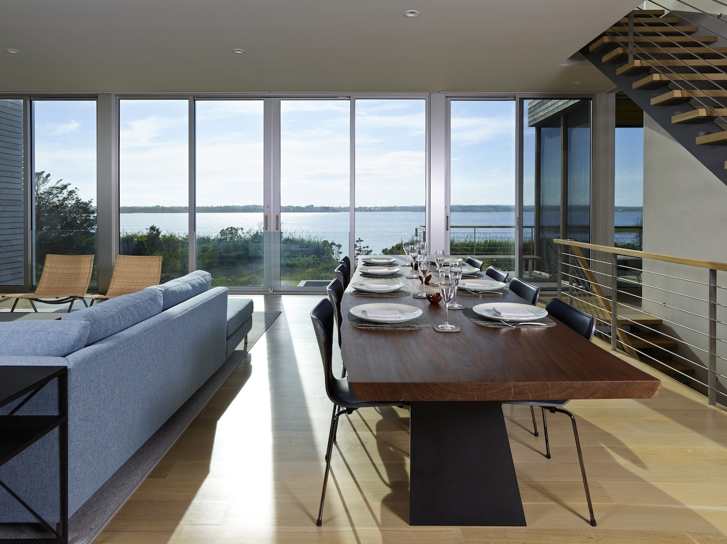 Water Mill, NY modern house interior design dining room