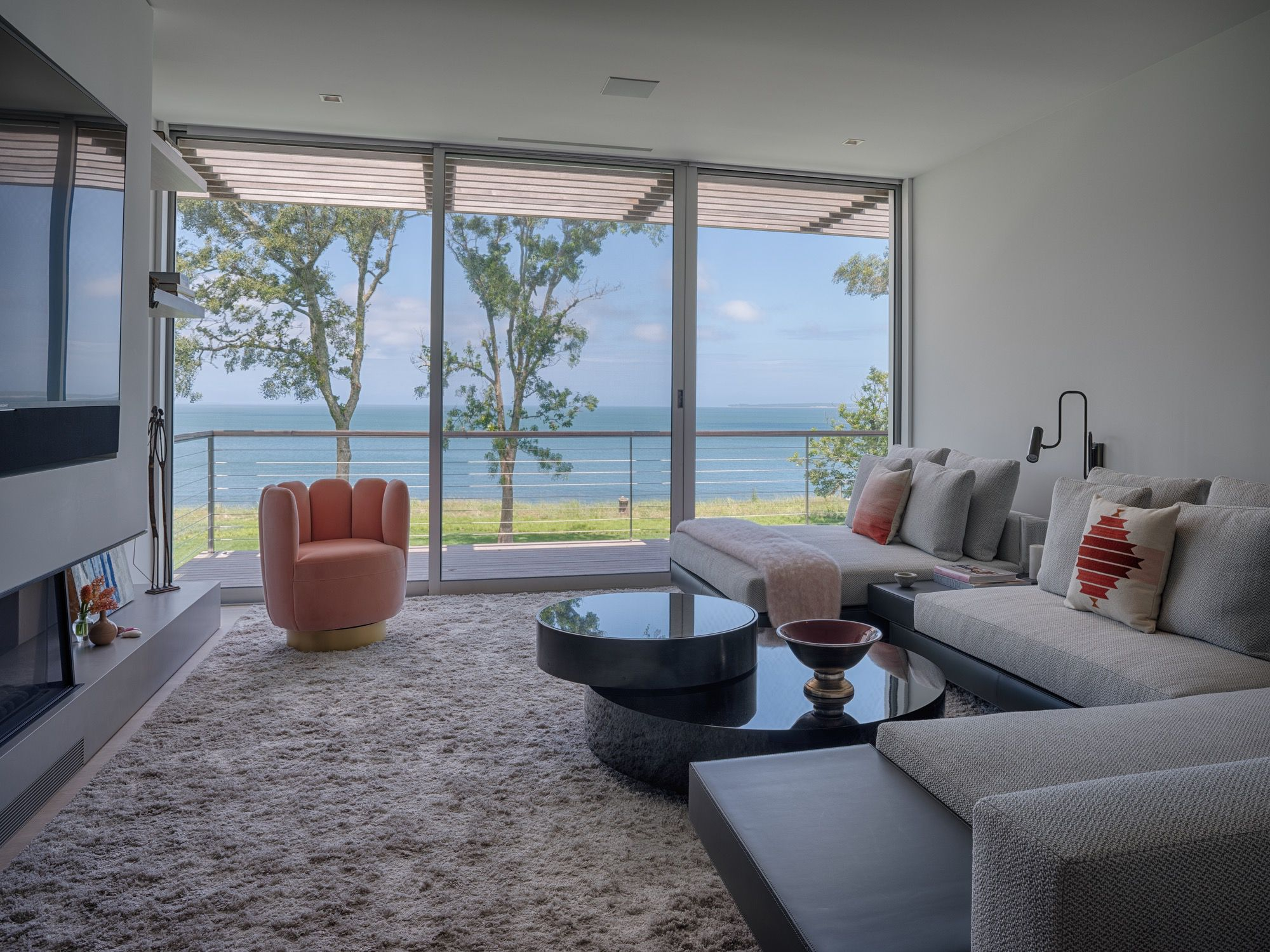 SLR Architects House On The Bluff Modern Media Room