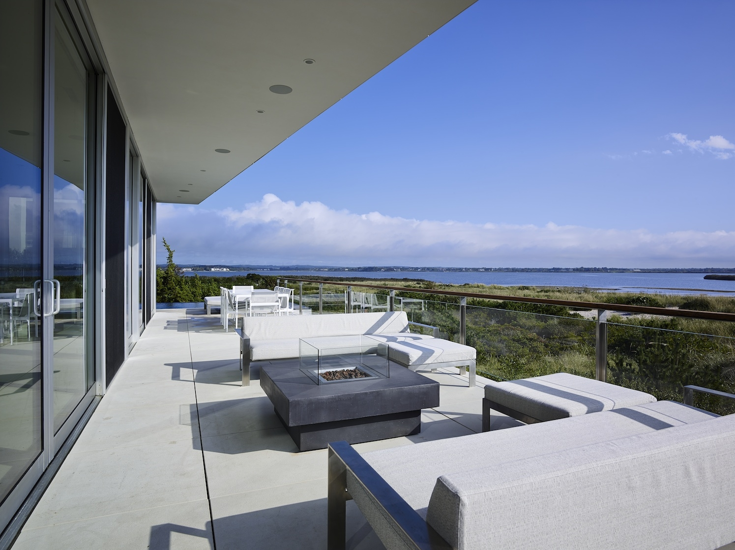 Flying Point, Water Mill, NY Modern House Interior Design Deck