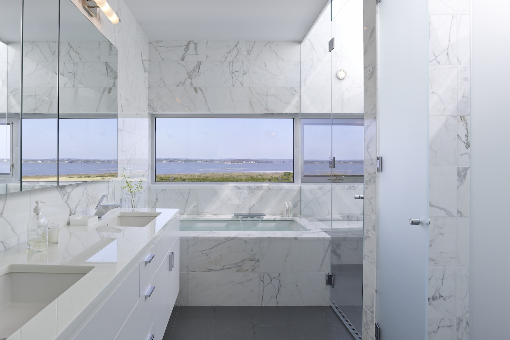 Flying Point Water Mill NY Modern House Interior Design Master Bathroom