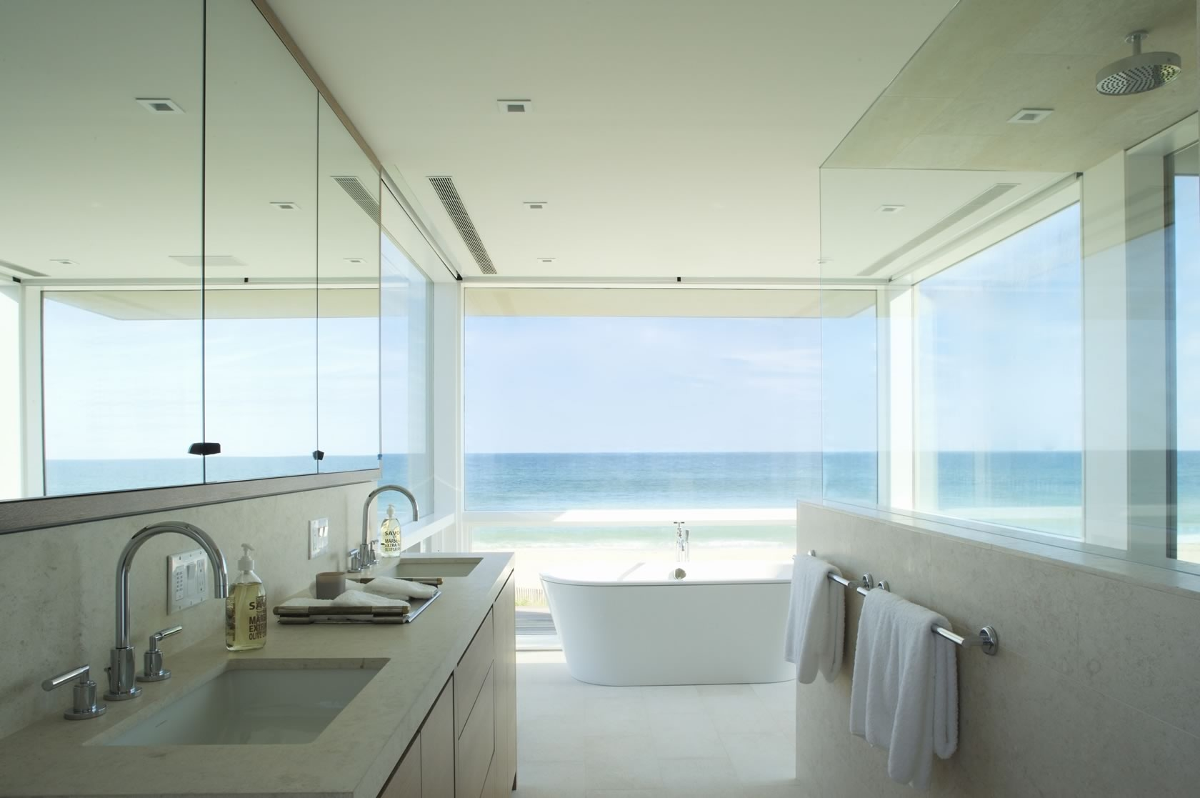 Beautiful ... Bridgehampton, NY Modern Oceanfront House Master Bathroom ... Design Inspirations