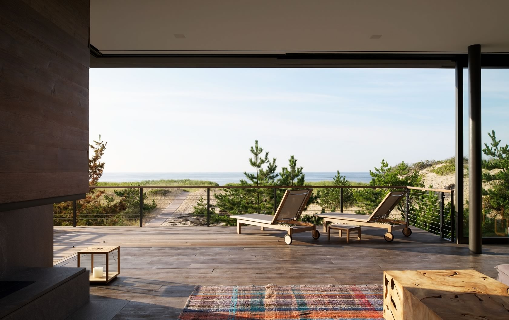 Amagansett, NY Modern Residence Living Room and Open Deck