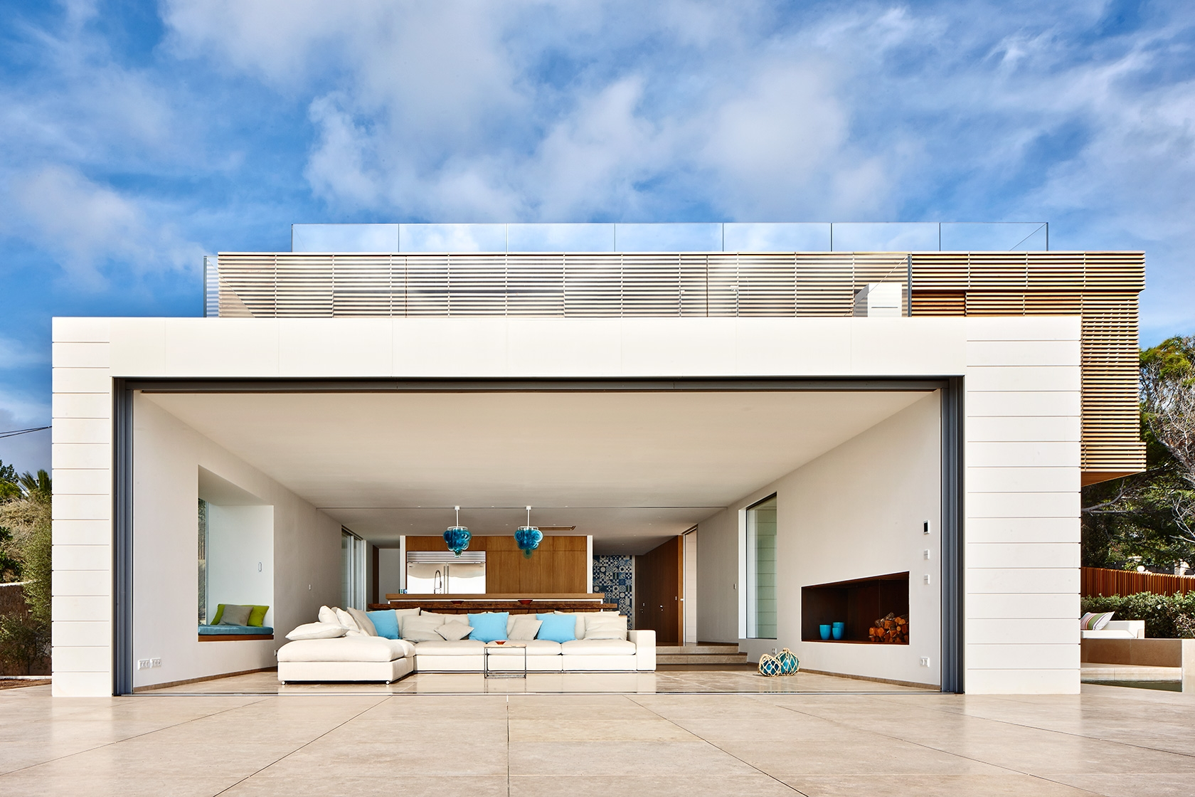 Mallorca Spain Modern House Glass Doors open